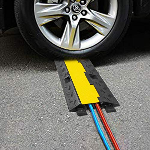 BestEquip Rubber Cable Protectors Heavy Duty Wire Hose Cord Protective Cover Ramps Floor Driveway Speed Bump, 3 Pack 2 Channel 11000lbs