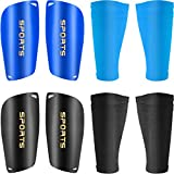 2 Pieces Soccer Shin Guards with Shin Guard Sleeves Adult Youth Soccer Shin Guards for Boys Girls Soccer Games Leg Protection Reduce Shocks and Injuries (Blue, Black)