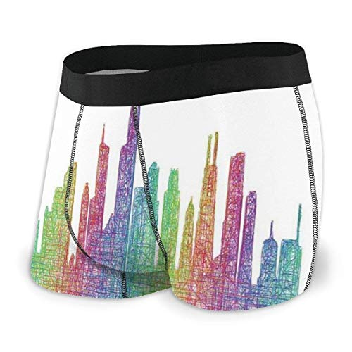 Web--ster Calzoncillos bóxer para Hombres, Escena Abstracta de la Ciudad en Tonos arcoíris Mixtos, Kits artísticos destacados Modernos, Talla XL