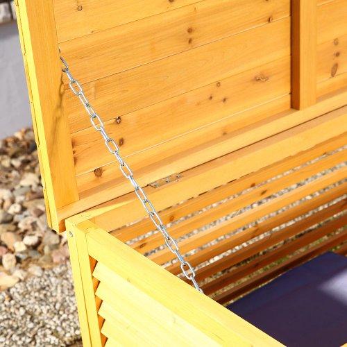 Melko Auflagenbox Kissenbox Gartenbox mit klappbarem Deckel, regenfest, aus Holz, 46 x 140 x 52 cm, Gartentruhe Holztruhe - 3