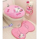 GSDJU Hello Kitty Pink Cartoon Weiches Badezimmer Toilettensitzdeckel Badmattenhalter Teppich Sitzkissenringe Toilettenset