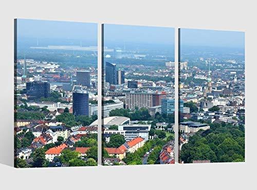 Leinwandbild 3 tlg Skyline Dortmund Stadt Bild Bilder Leinwand Leinwandbilder Holz Wandbild mehrteilig Kunstdruck fertig gerahmt 9AB509, 3 tlg BxH:120x80cm (3Stk 40x 80cm)