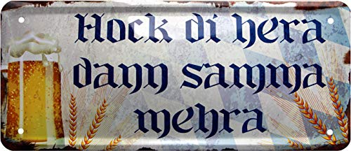 Hock di 1168 Plaque en tôle décorative Hera Samma mehra Bayrisch Bier 28 x 12 cm