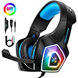 STOON Gaming Headset, for Xbox One PS4 Headset with Noise Canceling Microphone & LED Light, Over-Ear Gaming Headphones with Soft Memory Earmuffs for PC, Mac, Laptop, Nintendo Switch
