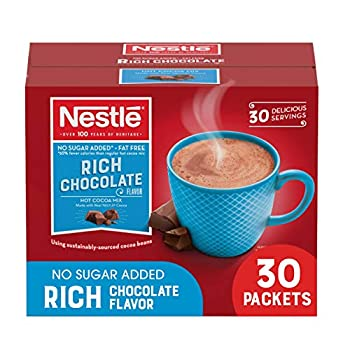 Nestle Hot Chocolate Packets Hot Cocoa Mix No Sugar Added and Fat Free 30 Count  0.28 ounce Each