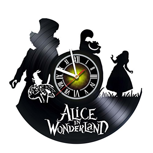 Wall Clock Compatible with Alice in Wonderland - We`re All Mad Here - Vinyl - Gift idea for Girls Boys Sister and Brother - Home & Office Bedroom Nursery Room Wall Decor -