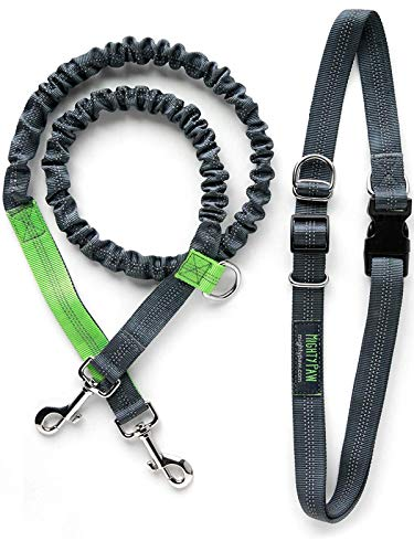 Mighty Paw Hands Free Dog Leash, Premium Running Dog Leash, Lightweight Reflective Bungee Dog Leash (Grey/Lime - 36 inch Bungee)