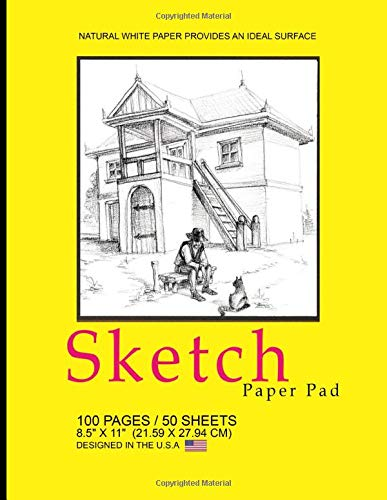 Sketch Paper Pad: Yellow Country Cover - 100 Page - 50 sheets Non Bound Spiral Drawing Pad - Use with Pens, Markers, Pencils for Writing, Drawing & Sketching
