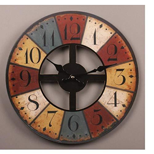 Reloj de pared de madera de MINGKK, estilo vintage, grande, estilo rústico, para cocina, hogar, sala de estar, regalo decorativo, 30 cm
