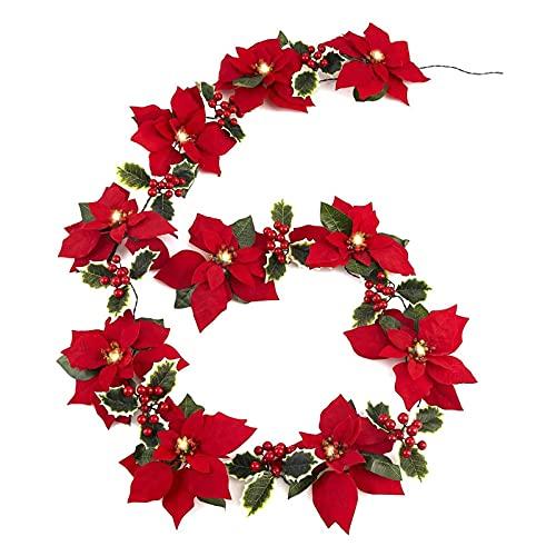 Ohstgp Guirlande lumineuse de poinsettia avec 10 lumières, 10 poinsettia et 9 baies rouges à 9 têtes, guirlande de poinsettia de Noël à piles