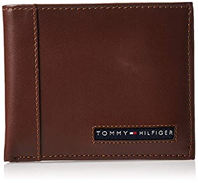 Tommy Hilfiger Men's Leather Wallet – Slim Bifold with 6 Credit Card Pockets and Removable ID Window, Tan, One Size