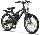 Licorne Bike Guide Bicicleta de montaña de 20 pulgadas, cambio de 18 velocidades, suspensión de horquilla, bicicleta infantil, bicicleta para niños y niñas, bolsa para cuadro, negro/rojo/gris