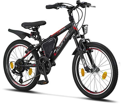 Licorne Bike Guide Premium Mountainbike in 20 Zoll - Fahrrad für Mädchen, Jungen, Herren und Damen - 18 Gang-Schaltung - Schwarz/Rot/Grau
