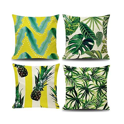 Socoz Fundas de cojín para sofá cuadradas, con forma de hoja de plátano, color dorado y verde, fundas rectangulares, cojines para sofá, 45 x 45 cm