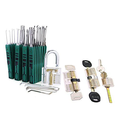 DBH Juego de 31 ganzúas Klom con 4 cerraduras transparentes, kit de prácticas de cerrojo