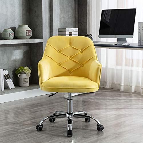 SSLine Velvet Home Office Chair,Modern Velvet Desk Task Chair Accent Armchair,Computer Desk Chair with Swivel and Adjustable,Accent Home Office Task Chair Executive Chair with Soft Seat (Yellow)