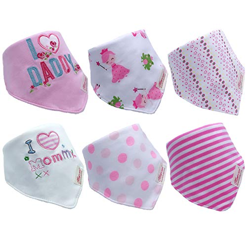 Babero triangular para bebé, pack de 6 unidades, pañuelos, baberos con botones de presión, absorbente, suave, tamaño ajustable