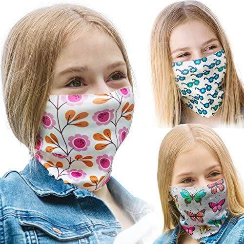 ALB Stoffe® ProtectMe - KIDS Loops Mix 6, permanent antimikrobiell, 100{a42079e6f1f68606729d4fcda6895e13d7c7fe0a58df34eb5608d4b398ee1c99} Made in Germany, Ökotex® Standard 100, Mund-Nasen-Maske aus Trevira Bioactive®, waschbar, schadstofffrei, 3er Pack