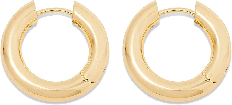gorjana Women's Lou Hoops, Chunky High Shine Hoop Earrings, 18K Gold Plated