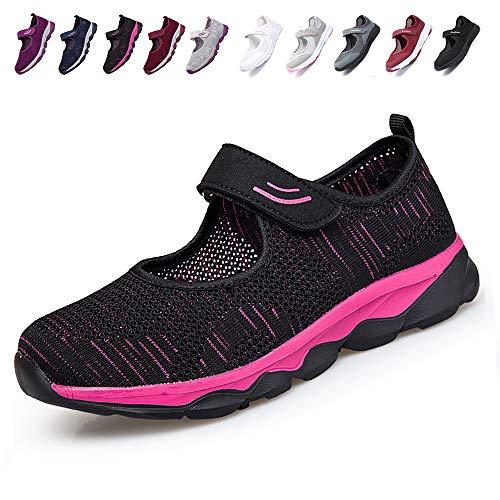 [JIAFO] 安全靴レディース スニーカー 介護シューズ 高齢者シューズ マジックテープ 通気性 柔軟性 軽量 メッシュ 中高齢者靴 ママシューズ 疲れにくい 滑り止めお母さん 婦人靴 看護師(22.5cm~26.0cm) (24.0cm, ブラックA)