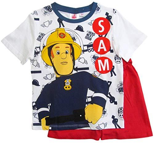 Feuerwehrmann Sam Schlafanzug Jungen Lang Pyjama (Blau-Rot, 92-98)