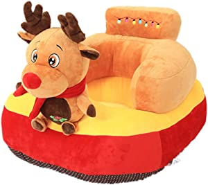 Havanadd Infant Sitting Chair Infant Support Seat Sofa Backrest Chair Kids Christmas Elk Animal Plush Toys Baby Cushion Sofa Protector Learning Sitting Chair Couch Bed Eating Chair