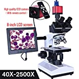 ANZQHUWAI Professionelles Lab biologischer HD trinokularen Mikroskop Zoom 2500X + USB-HDMI-VGA elektronische Digitale CCD-Kamera + 8-Zoll-LCD-LED,1