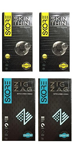 Skore Condoms Combo 10 Count (Pack of 4, Skin Thin and Zig Zag)