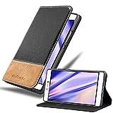 Cadorabo Hülle für Huawei P8 in SCHWARZ BRAUN – Handyhülle mit Magnetverschluss, Standfunktion & Kartenfach – Hülle Cover Schutzhülle Etui Tasche Book Klapp Style