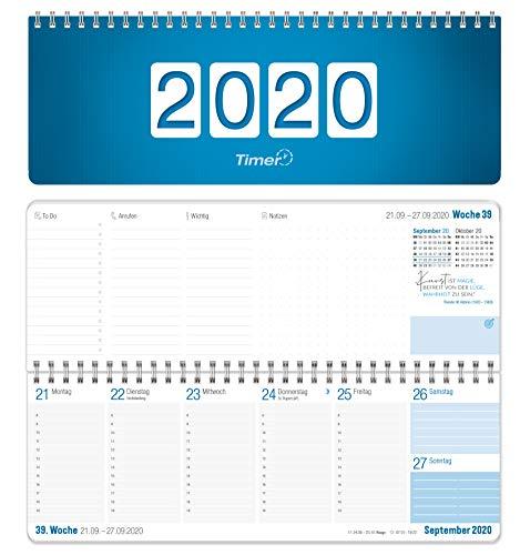 Wochen-Tischkalender 2020 im Quer-Format | 1 Woche 2 Seiten | Wochenkalender in Königsblau/Weiß, 29,7 x 10,5 cm | Schreibtisch-Kalender fürs Büro und Zuhause mit vielen Zusatzinfos und Sprüchen