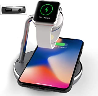3 in 1 Charger Station, Wireless Watch Charger and Phone Charger,Qi Fast Chargeing Stand Pad with Magnetic Watch Chagrer Module USB Port for Apple Watch, iPhone 11/11Pro/X/XS/XR, Wall Adapter Include