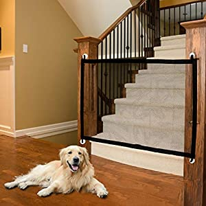 CHARMINER Pet Gate Baby Gate,Safety Magic Enclosure Net Extra Wide Retractable Adjustable Portable Folding Mesh Dog Gate 40.4 inch for Hall Doorways Stair Outdoor Easy to Install(Black)