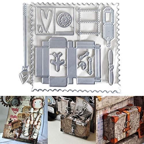 Scrapbooking Embossing Cutting Die,Maletín Sobre Scrapbooking Corte Die DIY Craft Embossing Stencil Mold - Plata