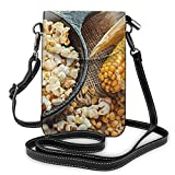 Goxegag Borsa Per Telefono Multifunzionale In Pelle, Borsa Da Viaggio Leggera A Tracolla Con Tracolla Piccola Con Cinturino Regolabile Per Donna- Popcorn Cibo Mais