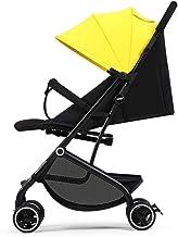 Bebé Silla de paseo Luz de cuatro ruedas Carrito de bebé Ajustable Carro de bebe Plegado con una mano Cochecito de bebé Puede sentarse y dormir Puede tomar el avion 0-36 meses (Amarillo)