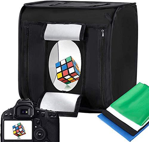 LTRINGYS Fotobox Lichtzelt 60x60CM/24x24'' mit 2X LED Beleuchtung 5500K,Fotografie Fotostudio Box Lichtzelt mit 4 Hintergründe für Fotografie(Schwarz, Weiß, Blau und Grün)