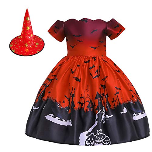 MYRISAM Kids Girls Halloween Costume Dress w/Witch Hat Ghost Pumpkin Skull Printed Fancy Dress Up Cosplay Party Outfits 4-5T Red