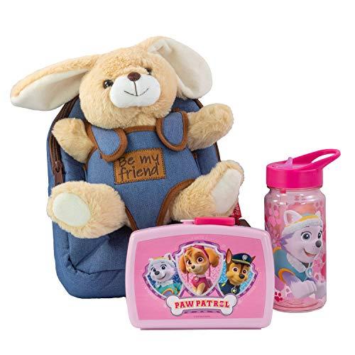Mochila Infantil con Peluche extraíble de Conejo Bob, Fiambrera y Botella en Color Rosa, Ideal para la guardería o para excursiones Familiares.