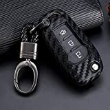 ROYALFOX(TM 2/3 Buttons flip Remote Key Fob case Cover for 2015 2016 2017 2018 2019 Ford F150 F250,Focus 3 Escort Kuga Everest Fiesta Mustang Edge MKV Fusion 2016 Ranger (Silicone Carbon Fiber)