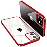 TORRAS für iPhone 12 Hülle/iPhone 12 Pro Hülle (Vergilbungsfrei) Ultra Klar Kratzfest Flexibles (Stoßfestigkeit Schutz) Dünn Handyhülle iPhone 12/12 Pro Crystal Series (Klassischer Stil) - Rot