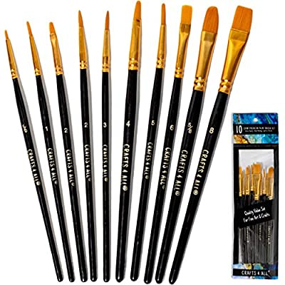 Crafts 4 All Paint Brushes Set Professional Fine Round Pointed Nylon Artist Brush Tips for Acrylic Watercolor and Oil Painting Variety-