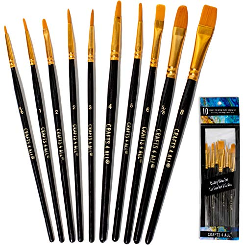 Crafts 4 ALL Paint Brushes Set 10 Pieces
