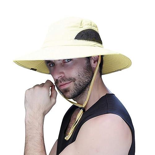 b22566da4089a Sombrero Hombre Verano Pescar Excursionismo Pescador de ala Ancha Plegable  y Impermeable para el Sol Sombrero