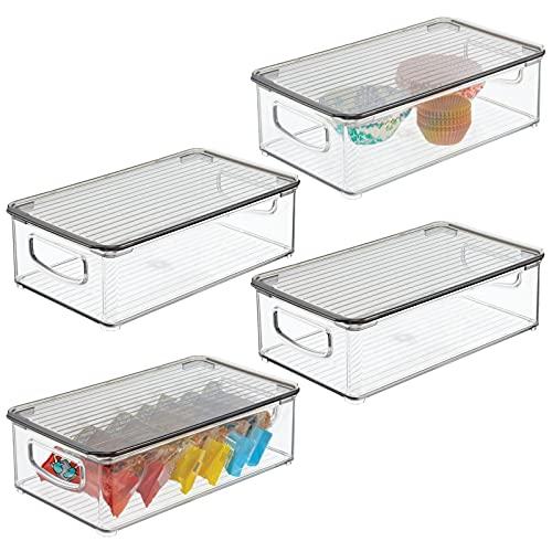 mDesign voorraaddoos van kunststof – koelkastdoos met deksel – levensmiddelen opbergdoos voor de keuken en bijkeuken…
