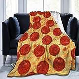 RomaniaGH Pepperoni Pizza Manta de Forro Polar ultrasuave, acogedora, cálida Manta de Felpa para sofá/Cama/sofá, Negro, 50' x40