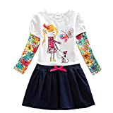 VIKITA Robes Fille Manches Longues Coton Cartoon Floral Princesse Casual Enfant 2-8 Ans H5926 6T