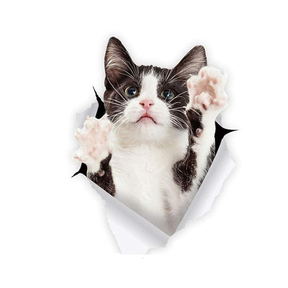 ミル補正効能Sunny 3D感のカーステッカー カッティングステッカー ウォールステッカー インテリアシール トリックアート だまし絵 飛び出す はがせる 車 バイク 壁 凹み キズ隠し かわいい インパクト (CAT⑤黒白猫)