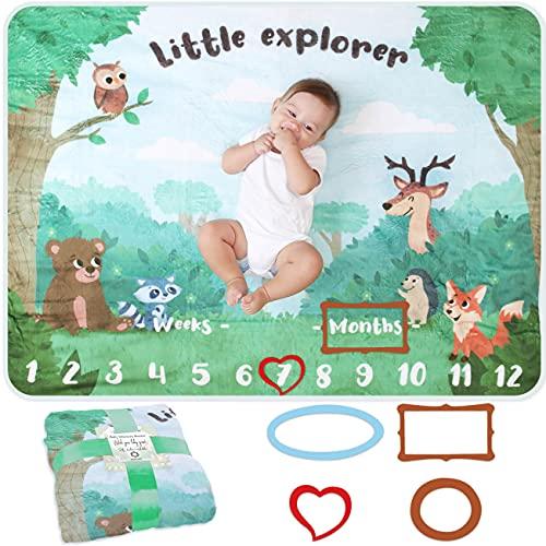 Baby Meilenstein Decke | Foto Monatsdecke Baby Neugeborene Junge oder Mädchen, Unisex | Personalisiertes Neugeborenen Baby Party-Geschenk | Wald & Forst | Weich | Baby Monats-Decke | Mit Rahmen
