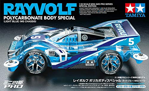 Radiokontrol Tamiya 95572 Mini 4WD PRO RAYVOLF Polycarbonate Body Light Blu Telaio MS Special Edition Kit Montaggio