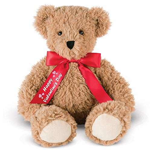 Vermont Teddy Bear - Happy Valentine's Day Bear, Brown with Red Bow, 13 Inches